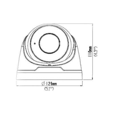 IP kamera Videosec IPD-3634-28Z výkres rozměry boční pohled